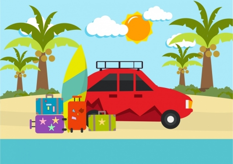 summber vacation background car baggages icons ornament