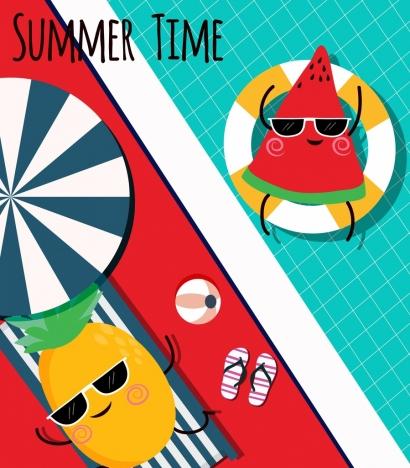 summer background swimming pool stylized fruit icons decor