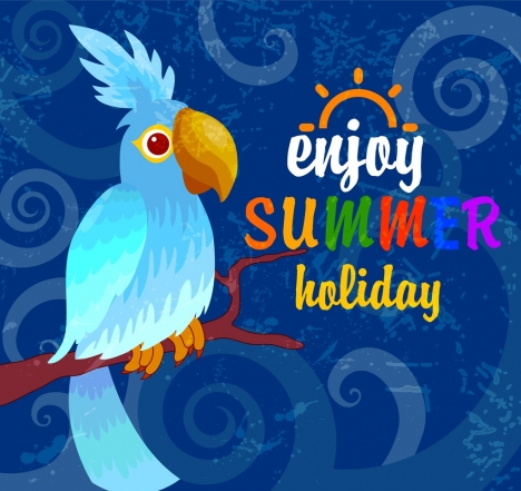summer banner blue parrot icon decoration