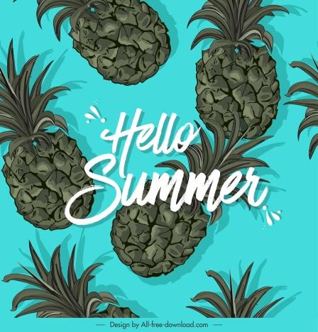 summer banner pineapples icons decor