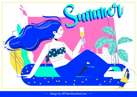 summer banner resting girl cocktail colorful design