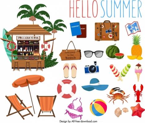 summer banner sea travel elements decor