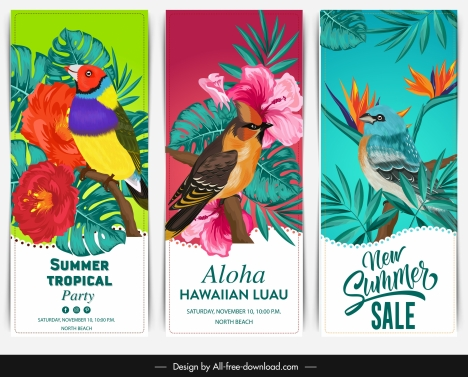 summer banner templates colorful birds floral decor
