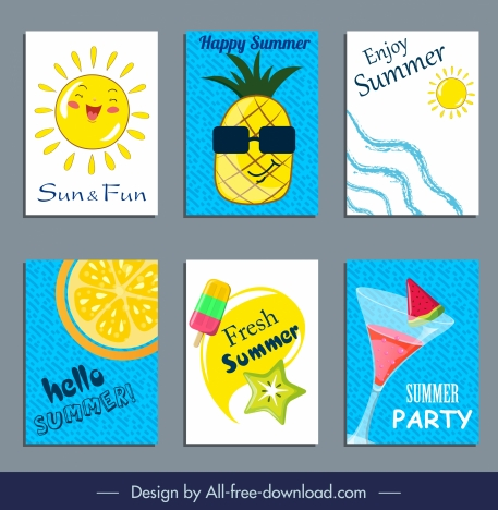 summer banners cute colorful flat symbols sketch