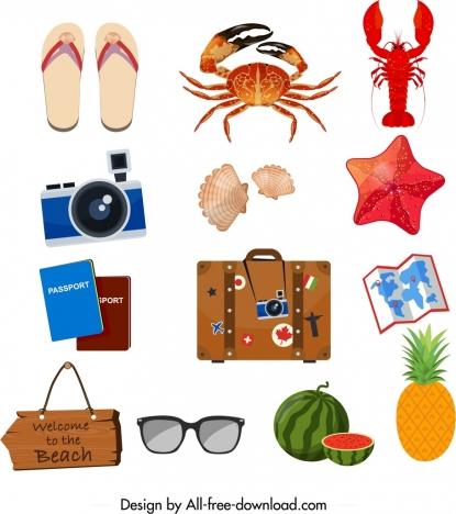 summer design elements trip utensils sea creatures icons