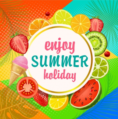 summer holiday banner fruits slices icons decoration