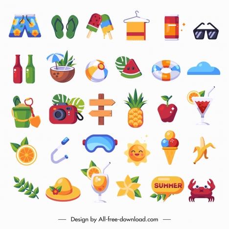 summer holiday design elements colorful emblems sketch