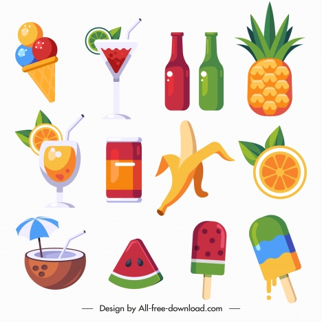 summer holiday icons tropical fruit beverages sketch