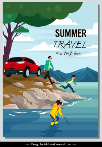summer holiday poster family vacation sketch cartoon design