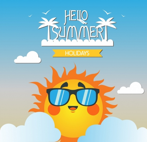 summer holidays banner stylized sun island icon ornament