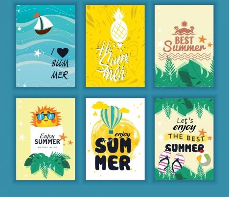 summer leaflet sets sea fruit balloon icons decor