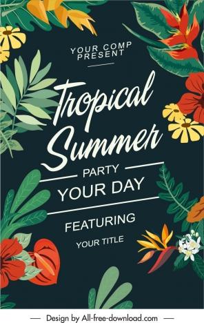 summer party banner tropical plants decor dark design