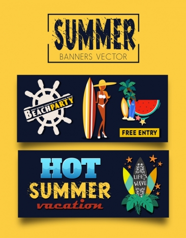 summer party banners bikini girl surfboard coconut icons