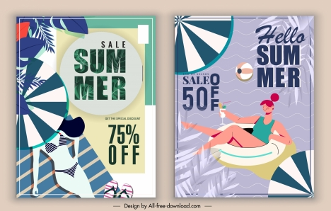 summer sale banners beach vacation elements decor