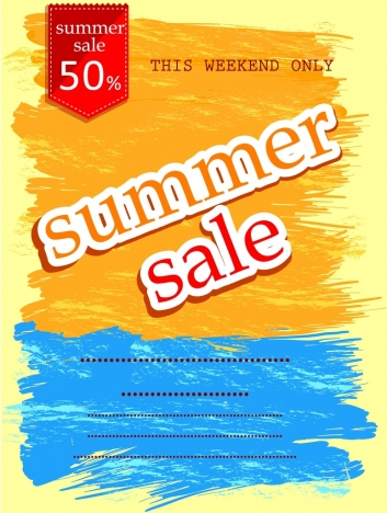 summer sale poster water color grunge ornament