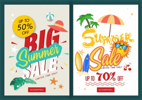 summer sales banners beach icons decoration