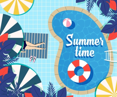 summer time background swimming pool umbrella buoy icons