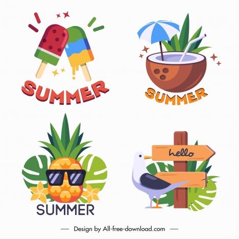 summer vacation icons colorful symbols sketch