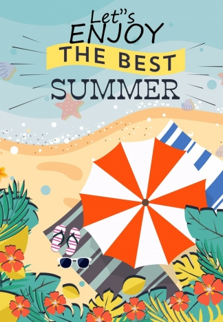 Summer vacation poster seaside umbrella icons colored ...