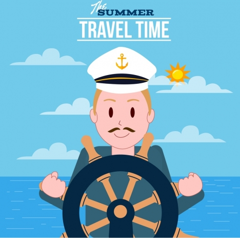 summertime banner sailor icon colored cartoon design