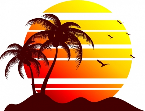 sun and seaside background silhouette decoration