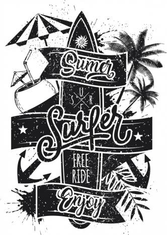 surfing advertisement surboard coconut text retro grunge design