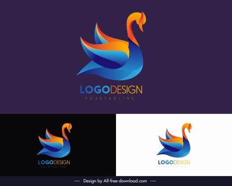 swan logotype modern colorful flat sketch