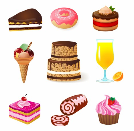sweets and candies icons set