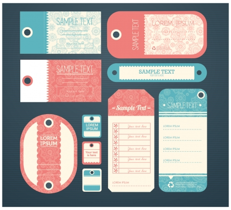 tag sets collection illustrations with vintage style