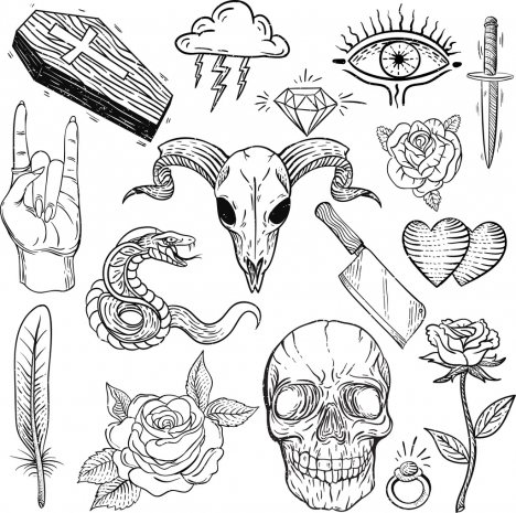 Tattoo Design Elements Black White Classical Sketch Vectors Stock In
