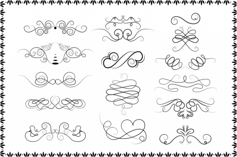 tattoo design elements curved lines isolation