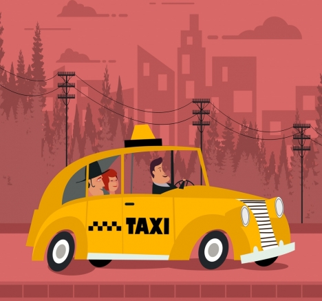 taxi advertising yellow car pink backdrop colored cartoon