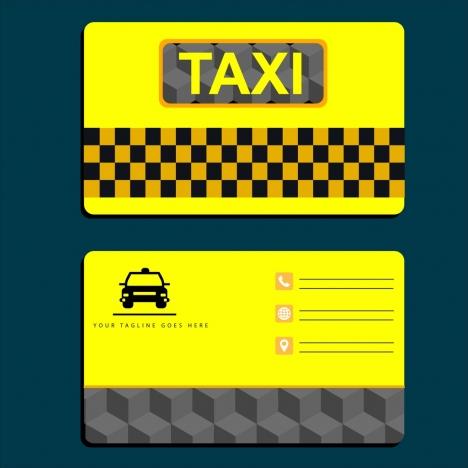 taxi name card template yellow design car icon