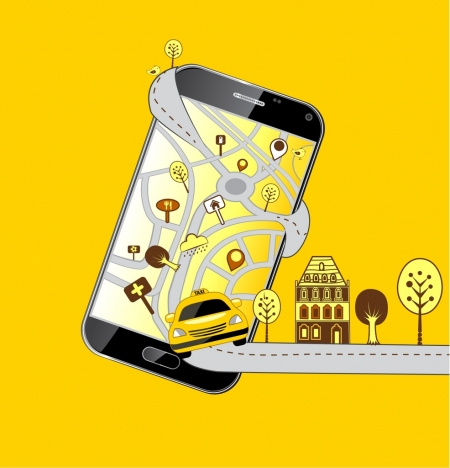 taxi service advertising smartphone car road icons