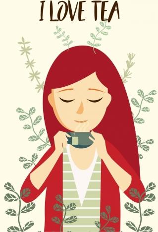 tea advertising drinking female icon cartoon design