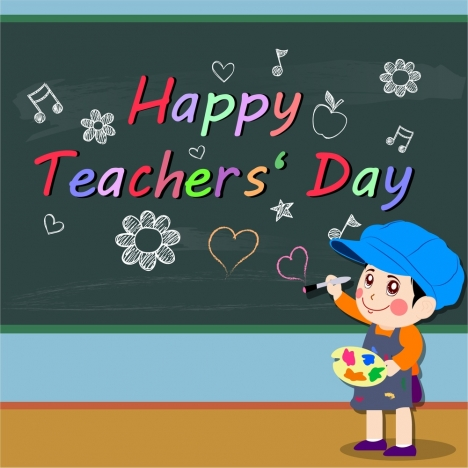 teachers day banner with pupil and chalkboard illustration