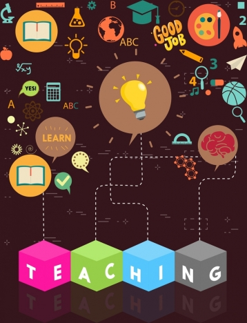 teaching concept background various colored symbols decoration