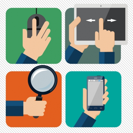 technology application illustration with practical hand