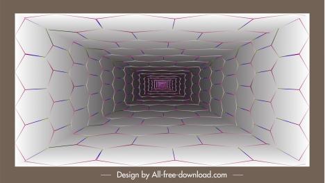technology background 3d depth tunnel geometric polygon wall