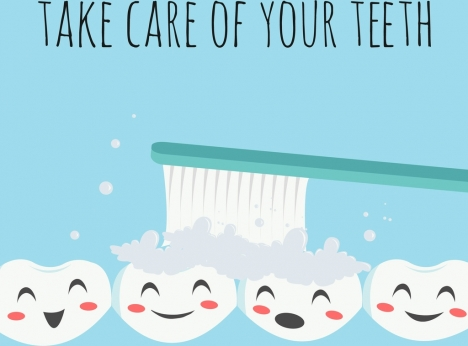 teeth hygiene poster stylized tooth icons colored cartoon