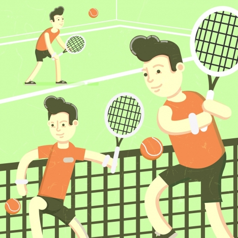 tennis background male player icons colored cartoon character