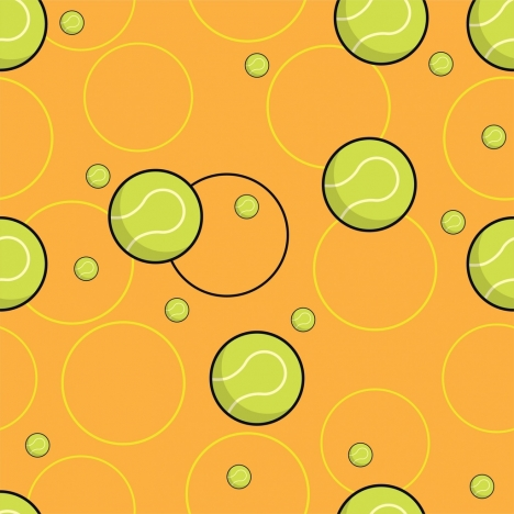 tennis balls background colored flat design repeating style