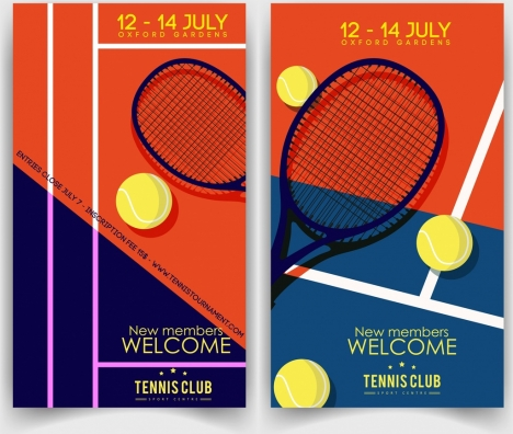 tennis club banner racquet ball icons classical design