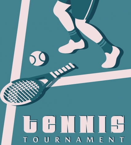 Tennis Tournament Banner Racket Ball Players Classical Decor Vectors Stock In Format For Free Download 2 56mb