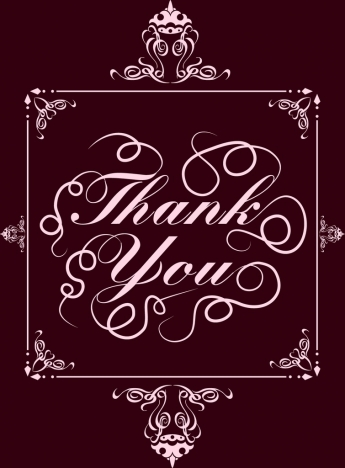 thanking banner violet classical curved decoration calligraphic design