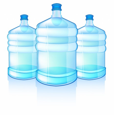 three big bottles with clean blue water drink