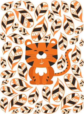 tiger drawing cute cartoon design falling leaves decoration
