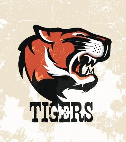 tiger logotype colored retro design