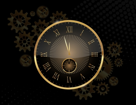 time background shiny golden clock gears icons decor