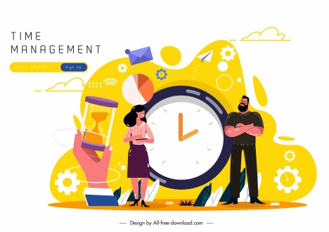 Time Management Banner Human Clock Business Elements Sketch Vectors Stock In Format For Free Download 2 51mb